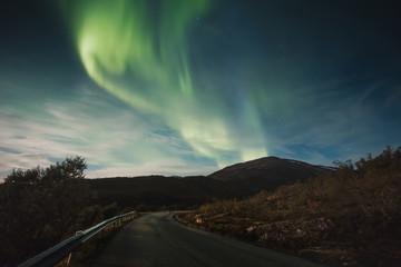 Northern lights over road