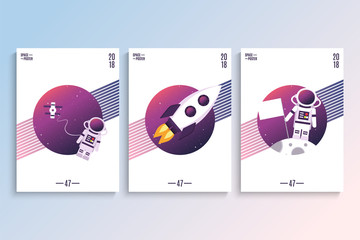 Space poster with astronaut, spaceship and Moon. Double Exposure. Vector illustration.
