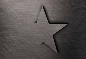 Star on stainless steel, Metal texture background