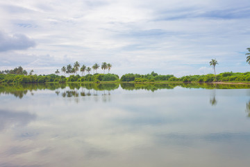 Induruwa, Sri Lanka - A natural lake bihind the ocean coast line