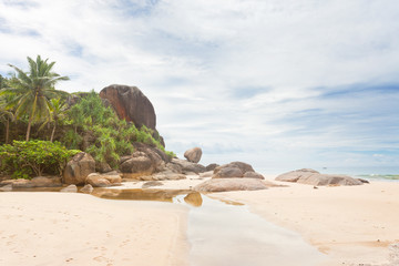 Bentota, Sri Lanka - A small river in front of huge granite rocks and palm trees