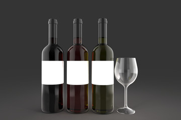 Wine bottle on background. 3D rendering.