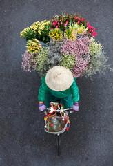 Overlooking the streets of women selling flowers, Vietnam Hanoi