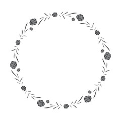 vector hand drawn floral wreath, round frame with leaves and flowers, decorative design element, illustration