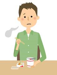 若い男性 パパ カップ麺