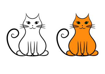 Contour cat and painted cat, isolated vector