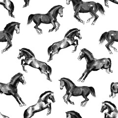 Seamless pattern with running and jumping horses, handmade ink painting, isolated on white background. Chinese zodiac background. Textile design.