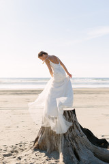 Bride Standing on Stump at Pacific Ocean