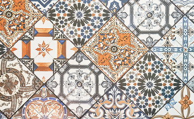 Texture of ceramic tiles in oriental East style. Turkish ceramic tiles lined on the wall. Ready idea for your design
