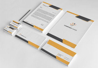 Stationery Layout Set with Orange and Black Accents 1