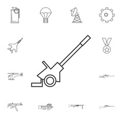 Cannon military line icon .Element of popular army  icon. Premium quality graphic design. Signs, symbols collection icon for websites, web design,