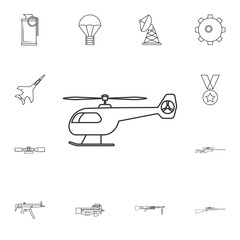military helicopter line icon .Element of popular army  icon. Premium quality graphic design. Signs, symbols collection icon for websites, web design,
