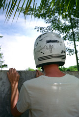 Motorbike helmet with DIY graphics
