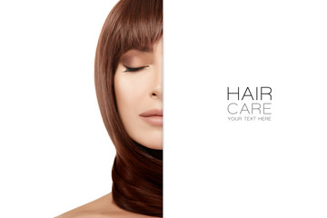 Beauty concept of hair care with beautiful brunette woman