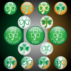Shamrock icon set. Traditional colors of the Irish flag.
