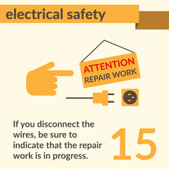 Electrical Safety simple vector art poster