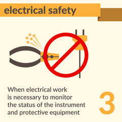 Electrical Safety and Health icons and signs set