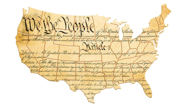 The United States Constitution concept with map and text . 3D rendering
