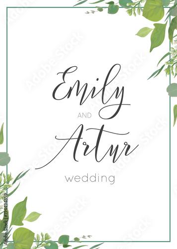 Quot Botanical Watercolor Style Wedding Invitation Invite