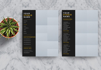 Photography Business Price List Flyer Layout with Black and Gold Accents