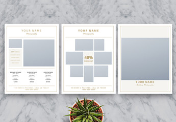 Photography Business Price List Flyer Layout with Gold Accents