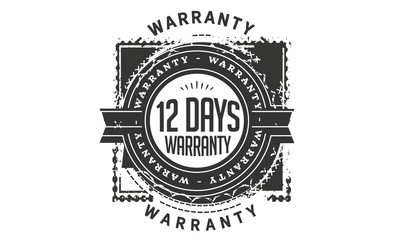 12 days warranty icon rubber stamp