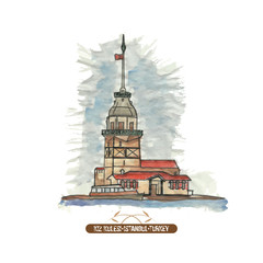 The Maiden's Tower (Kiz Kulesi). Hand drawn illustration.