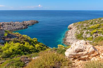 View of bay with crystal sea water next to Korakonisi Island on western side of Zakynthos. Zante, Greece