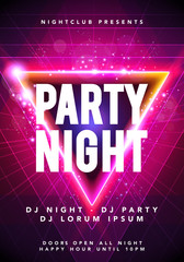 Vector illustration dance party poster background template with glow, lines, highlight and modern geometric shapes in pink and blue colors. Music event flyer or abstract banner