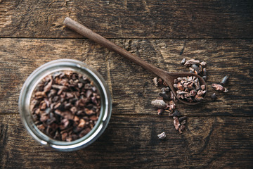 Food: Raw cacao nibs, raw, dried cacao beans