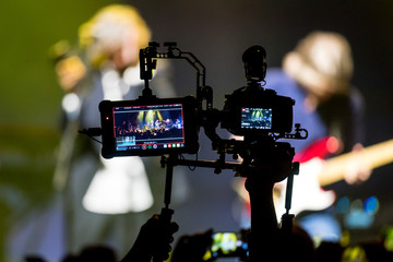 professional camera recording a concert