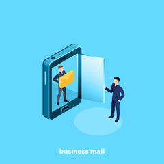 a man in a business suit with a letter and a smartphone with a glass door, an isometric image