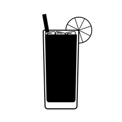 Vector Long Island drink with a piece of lemon, a straw and ice on top. Every piece isolated.