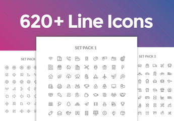 620 Line Art Icons Set