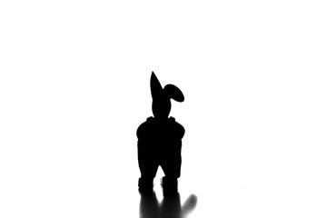Silhouettes of an isolated easter bunny figure