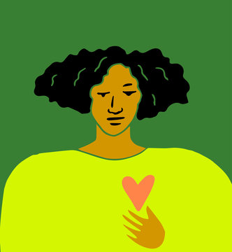 Illustration of young woman with red heart on t-shirt