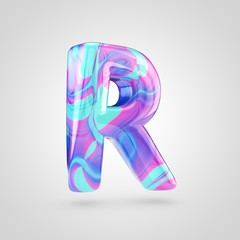 Glossy holographic letter R uppercase isolated on white background