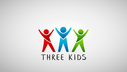 Three Kids Logo. Vector Design