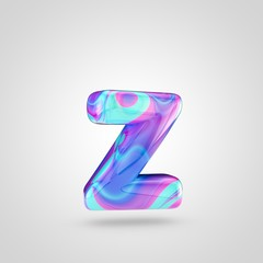 Glossy holographic letter Z lowercase isolated on white background