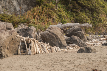 Primitive shelter on Hidden Beach Klamath California.