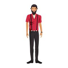Hipster fashion man cartoon vector illustration graphic design
