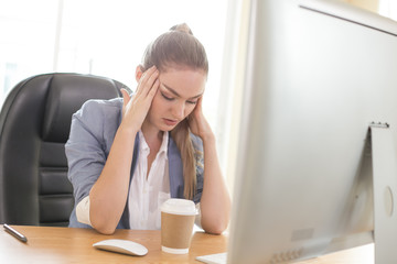 Business woman boring when she work at office. Woman working over time with stress situation. People working concept.