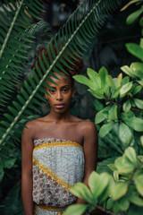 Beautiful Woman in Tropic Garden