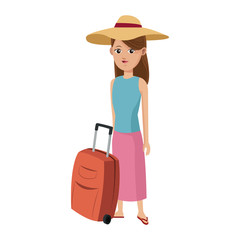 Tourist woman cartoon vector illustration graphic design