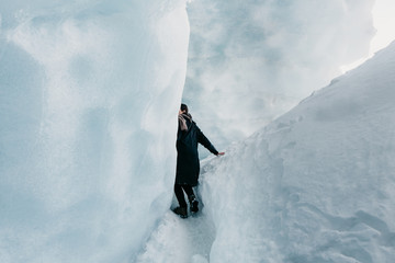 Woman alone in a Glacier