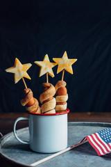 USA hotdogs and flag