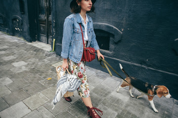 Beautiful women girl with a dog