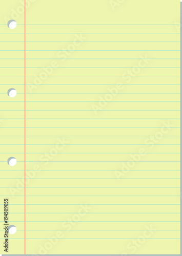 Blank Yellow Notebook Paper Sheet Background With Blue Lines Margin