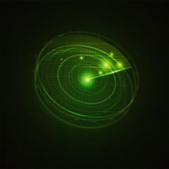 3d hud radar scanning the space . Military searching system blip . Navy radar with targets on screen . Technology background . Vector illustration .