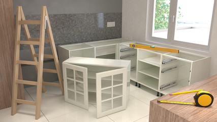 Assemblyf of kitchen furniture